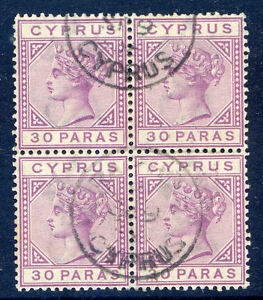 Cyprus Queen Victoria 1882-6 30pa die 2 block 4 used (2017/06/12/#13)
