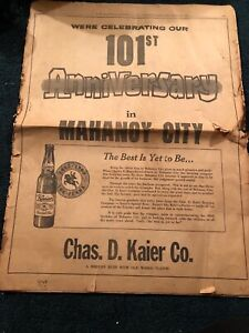 Mahanoy-City-PA-Centennial-With-Chas-D-Kaier-Newspaper-Insert-From-1963