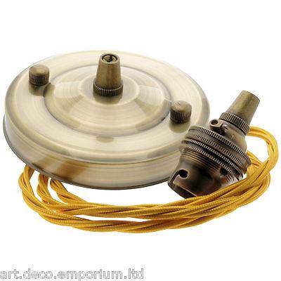 B22 nouveau antique laiton effet pendentif kit avec antique gold braided flex