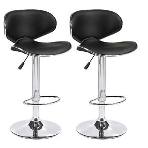 Image Is Loading Setof2PULeatherBarStoolsAdjustable Leather Bar Stools With Back3