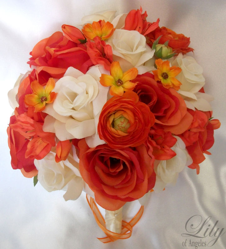 17 Piece Set Wedding Bridal Bouquets Silk Flower Round Bride Orange IVORY FALL
