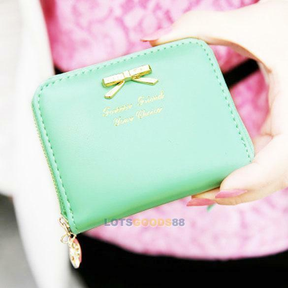New Womens Leather Mini Wallet Card Holder Small Zip Coin Purse Clutch Handbag L