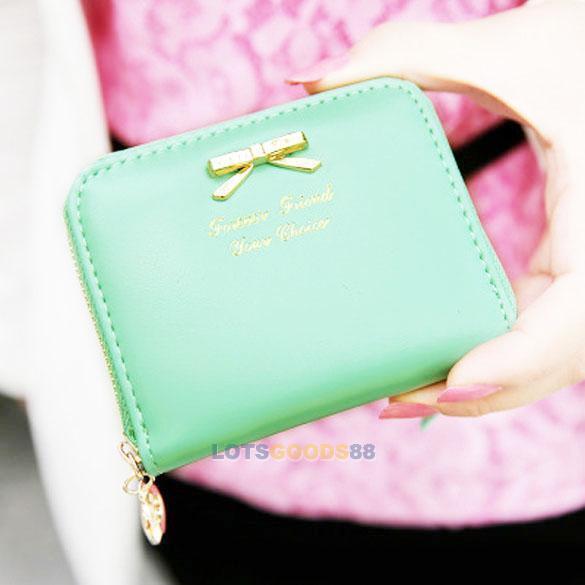 New Womens Leather Mini Wallet Card Holder Small Zip Coin Purse Clutch Handbag L