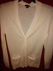 Ann-Taylor-button-cardigan-sweater-cream-size-Medium-long-sleeve