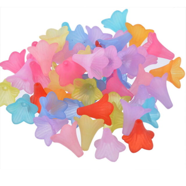 "50PCs Acrylic Spacer Beads Frosted Flower Mixed 22mmx22mm(7/8""x7/8"")"
