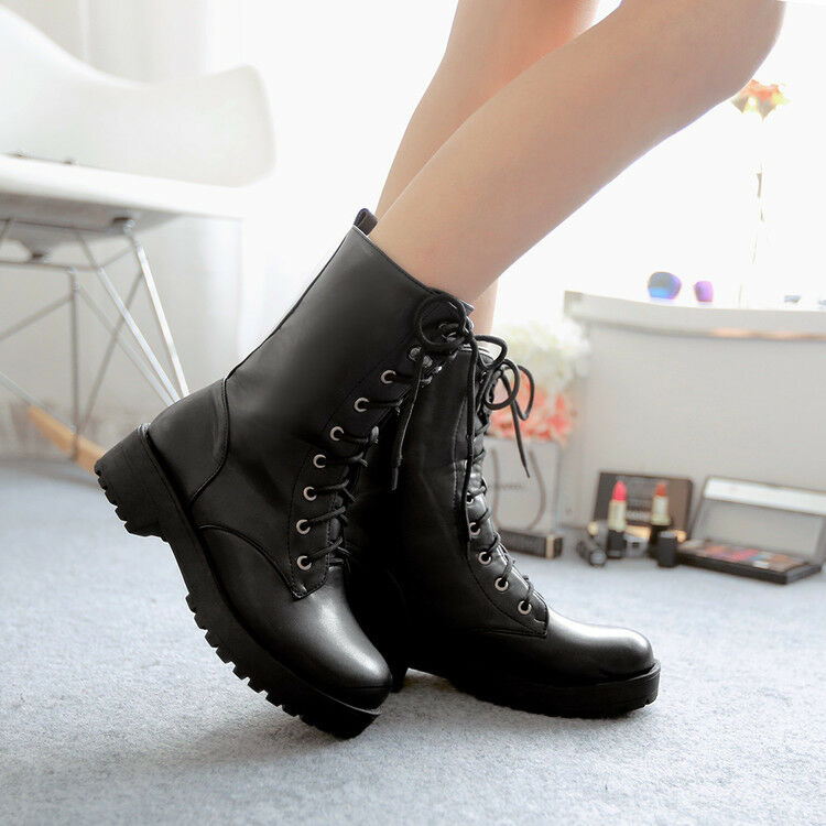 Plus Ladies Lace Up Rivet Punk Motorcycle Military Combat Ankle Boots Shoes Size