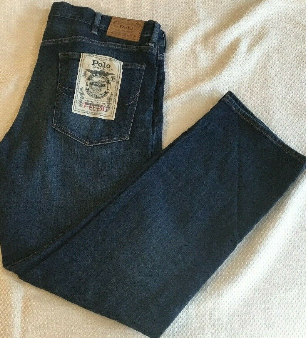 Men's Polo Ralph Lauren Hampton Straight Dark bluee Jeans 44T 36  NWT