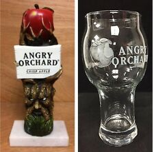 "Angry Orchard Hard Apple Cider Tap Handle 8"" & Two(2) Angry Apple Glasses NEW FS"