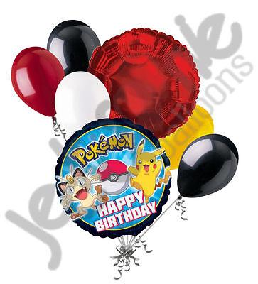 7 pc Pokemon Pikachu Balloon Bouquet Party Decoration Happy Birthday Super Hero