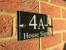 LUMINOUS MODERN HOUSE SIGN PLAQUE GLASS ACRYLIC / BLACK DOOR NUMBER/STREET