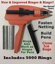 """Ringer & 5000 pcs. 9/16"""" Galv Hog Rings for Stanley Ringer Gun Aviary Net Attach"""