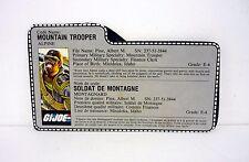 VINTAGE ALPINE FILE CARD G.I. Joe Action Figure FRENCH GREY / AWESOME SHAPE 1985