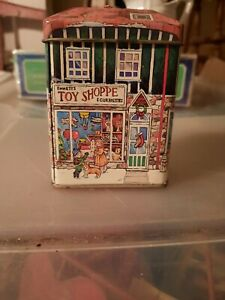 VINTAGE-TIN-ORNAMENT-Metal-box-Nickis-Toy-store-Collectible