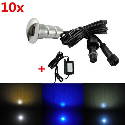 10pc 19mm LED 12V Outdoor Garden Plinth Kickboard Floor Path Pathway Deck Lights