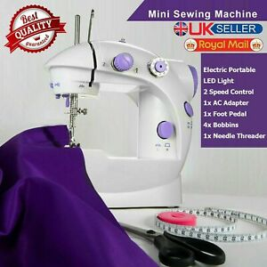 MAINS BATTERY POWERED ELECTRIC TWIN SPEED MINI STITCH HANDHELD SEWING MACHINE