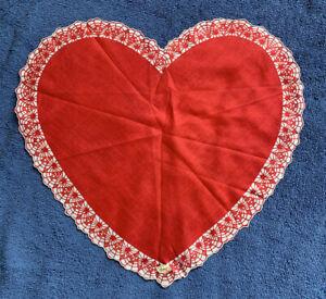 Heart Hanky Vintage Handkerchief Valentines Day Hanky Red Heart Hanky Vintage Hanky Scalloped Edge Hanky