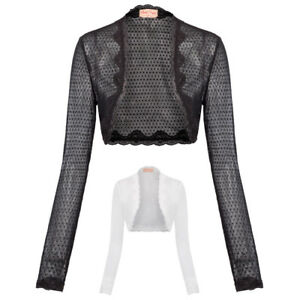 Women Lady Long Sleeve Cropped Open Front Bolero Shrug Cardigan ... 11e8b9d0e