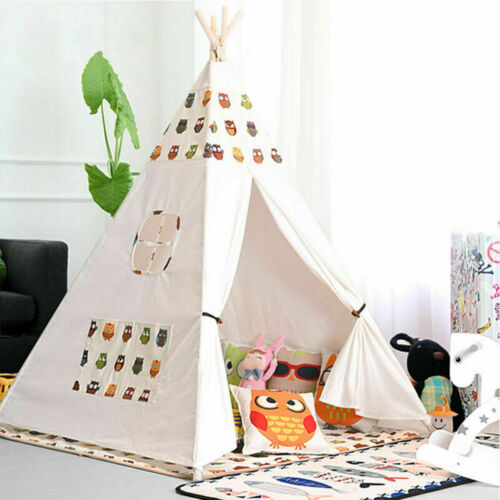 Large Teepee Play Tent Cotton Canvas Children Kids Toy Indoor Outdoor Play House