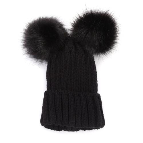 Cute Mom/&Newborn Baby Boy Girls Winter Warm Double Fur Pom Bobble Beanie Hat