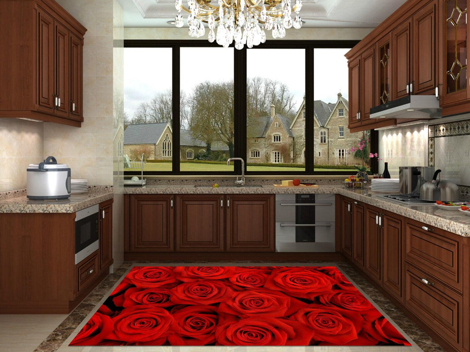 3d 29 ROSE ROSSE 29 3d TAPPETO da cucina pavimento muro parete muro ...