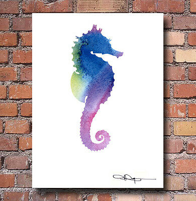 Sea Horse Abstract Watercolor Painting Art Print by Artist DJ Rogers