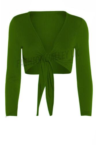 Femme Tie Knot Shrug Short Femme Crop Cardigan Wrap Boléro Haut Plus Taille 8-22