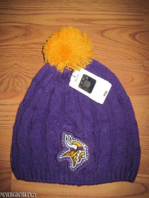 Minnesota Vikings Womens Cable Knit Hat Stocking Cap Beanie NFL for ... ba0a536a50