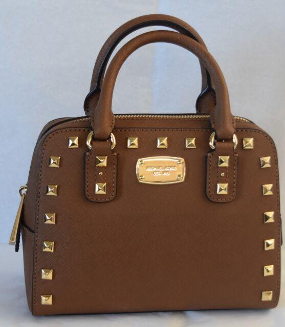 a2d6c448221d8 MK MICHAEL KORS Saffiano Leather Studded Mini Satchel Bag Brown NEW