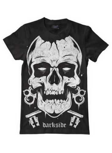 Darkside White Skull Mens Black T Shirt M-Xxl Tattoo Goth Punk Uk Brand New