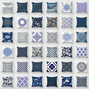 Vintage-Blue-Flower-Polyester-Pillow-Case-Waist-Sofa-Cushion-Cover-Home-Decor