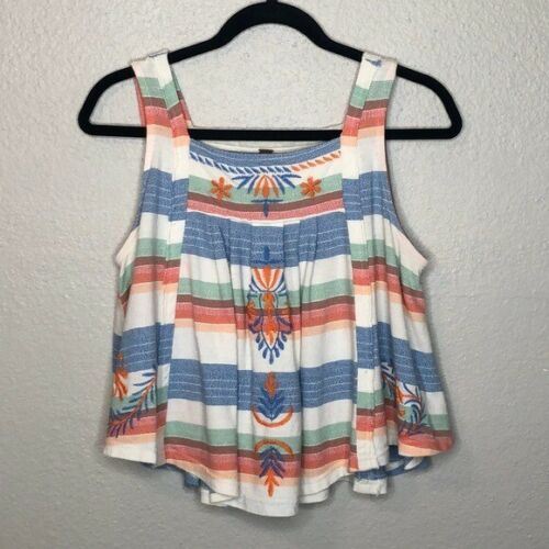 Free People Embroidered Vintage Swing Tank