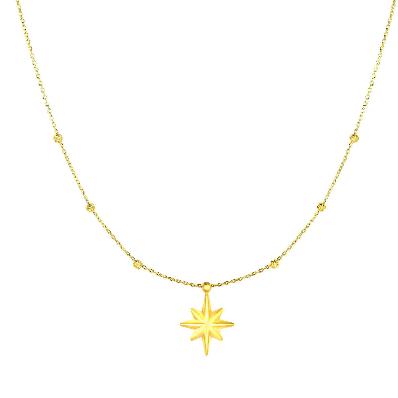 14k oro Giallo Pendente North Star Star Star Collana Ciondolo 45.7cm 1c5d62