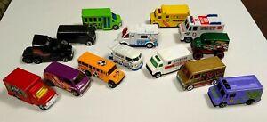 Lote-de-14-Die-Cast-Hot-Wheels-Matchbox-Y-Otros-Vans-Camiones-autobuses-y-varios
