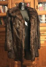 Vintage Genuine Real Fur Coat/Jacket Ladies Medium Length Brown Stunning
