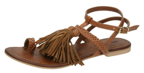 Leather Collection F0950 Ladies Tan Slingback Leather Sandals with Toe Loop