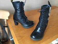 Dr Martens Regina black leather brogue heels UK 3 EU 36 goth punk Darcie