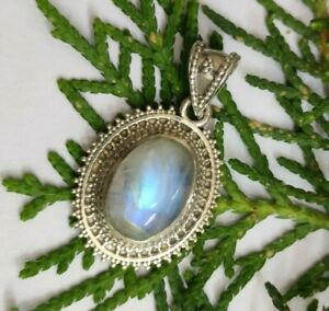 Rainbow Moonstone Solid 925 Sterling Silver Pendant Boho Pendant Rainbow Moonstone Pendant ooak Pendant