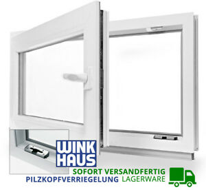 Kellerfenster-Kunststoff-Fenster-2-Fach-Verglast-Dreh-Kipp-alle-Groessen-LAGERWARE