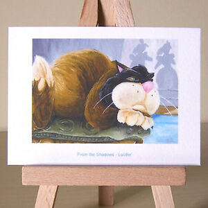 Cinderella-WDCC-Lucifer-the-cat-in-oil-painting-style-drawing-ACEO-art-card