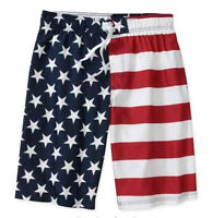 American Flag Usa Patriotic Swim Board Short Trunks S M L Or Xl Faded Glory