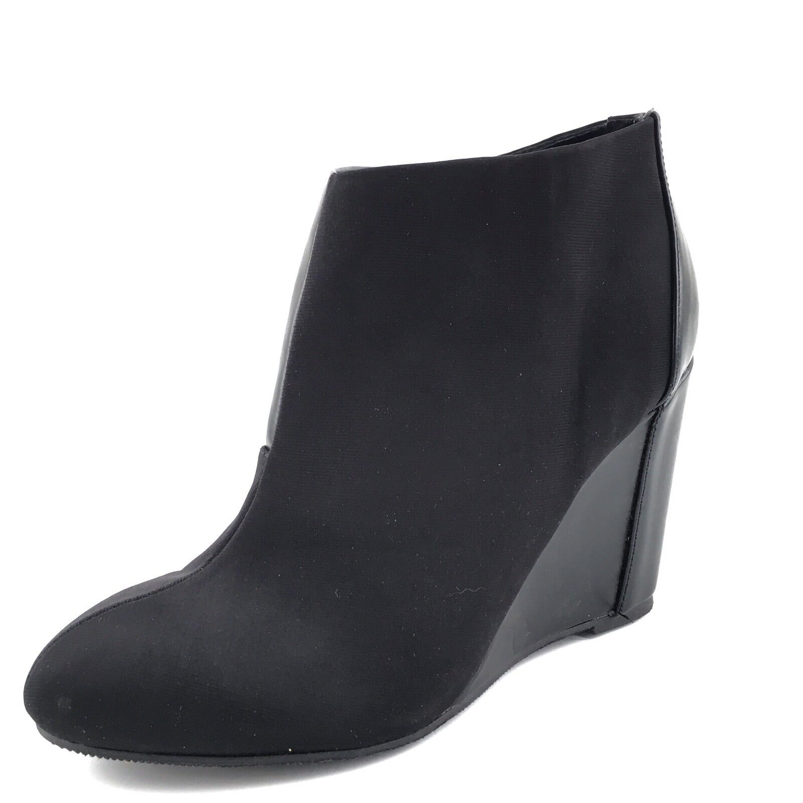 Charles David Canzona Black Leather Wedge Ankle Boots Womens Size 8 M