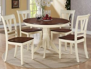 Beautiful 5pc Dining Set Round Table Chairs Off White Framed Back Support Wood
