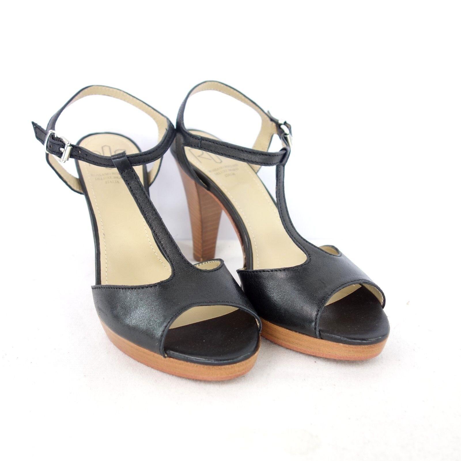 ROSSANO BISCONTI Damen Sandaletten Schuhe 37 Schwarz Leder T String NP 165 NEU