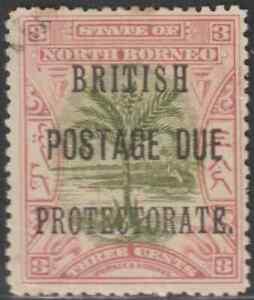 NORTH-BORNEO-1902-BP-POSTAGE-DUE-3c-SAGO-PALM-CTO