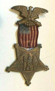 Civil War Grand Army of the Republic Veteran Ribbon Pin American Flag 1861-1866