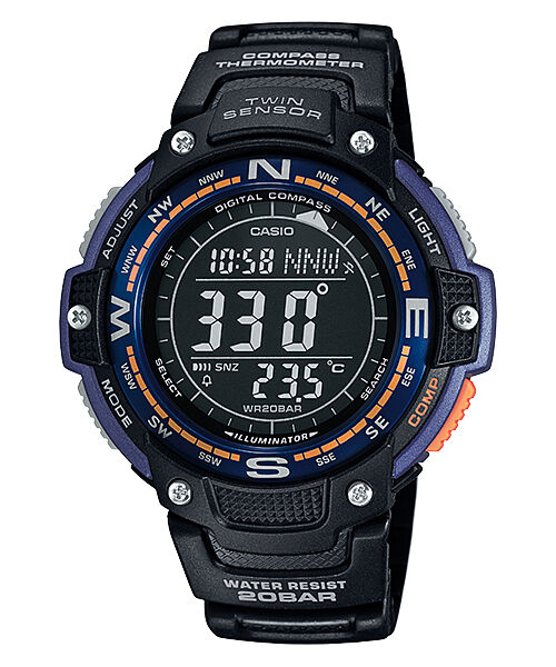 Casio SGW100-2B, Digital Compass, Thermometer, Resin Watch, 5 Alarms, World Time