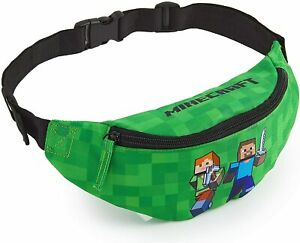 Minecraft-Bum-Waist-Bag-Green-Fanny-Pack-with-Adjustable-Belt-for-Boys-Teens