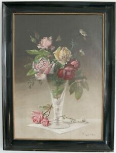 Roses-in-Kelchvase-1904-Signed-C-Madsen-1904-Oil-on-Canvas-Very-Beautiful