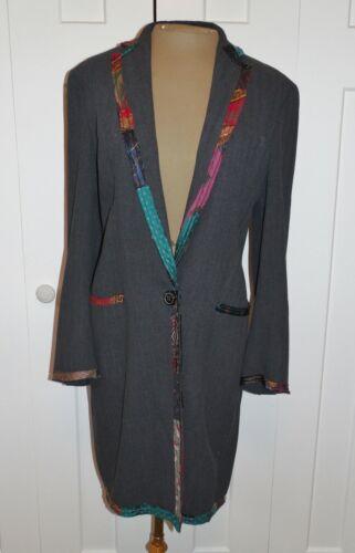 MEG STALEY Handmade Art to Wear Gray Duster Coat R