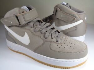 Nike Air Force 1 Mid  07 Light Taupe White Gum Brown SZ 9 (315123 ... 1d8a353ab